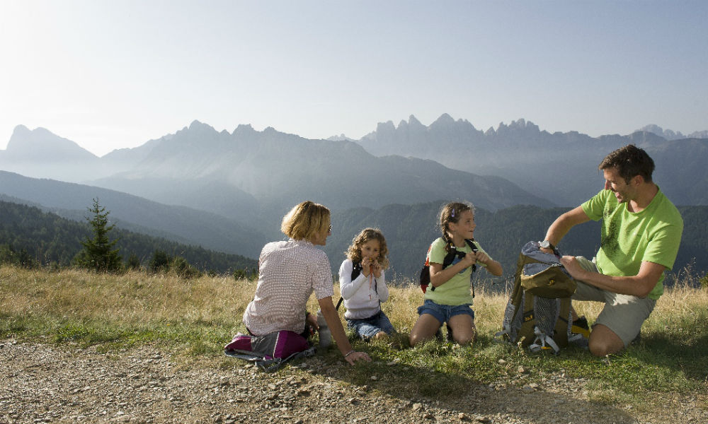 Families hiking in the Dolomites